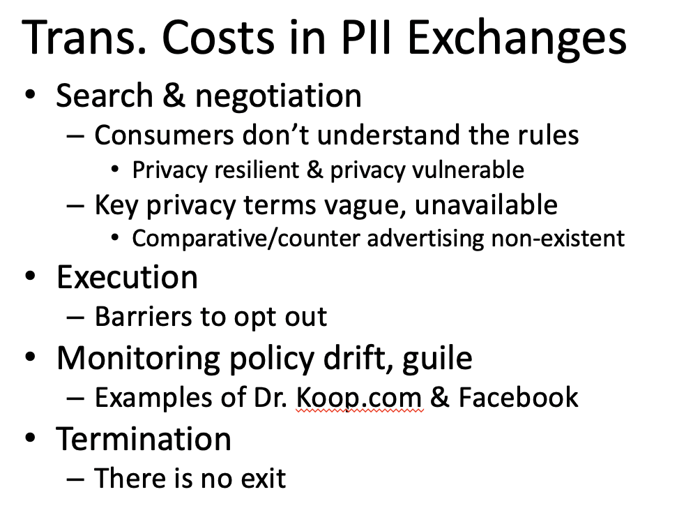 transaction costs in personal information exchanges